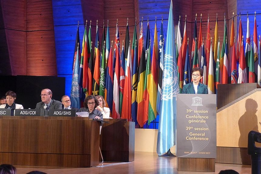 Minister for Culture, Community and Youth Grace Fu, who is also chairman of the Singapore National Commission for Unesco, speaking at the 39th session of the UN agency's general conference at its headquarters in Paris on Wednesday.