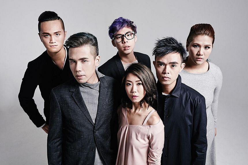 Micappella comprise (from left) Peter Huang, Eugene Yip, Goh Mingwei, Tay Kexin, Juni Goh and Calin Wong.