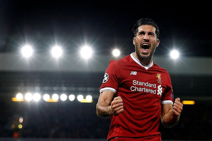 Emre Can after scoring Liverpool's second goal against Maribor in the Champions League at Anfield on Wednesday night. Daniel Sturridge completed their 3-0 win over the Slovenian minnows, who defended deep in the first half.