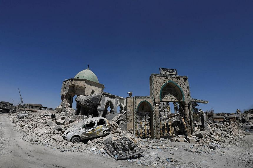 The destroyed Grand al-Nuri Mosque is seen in the Old City of Mosul.