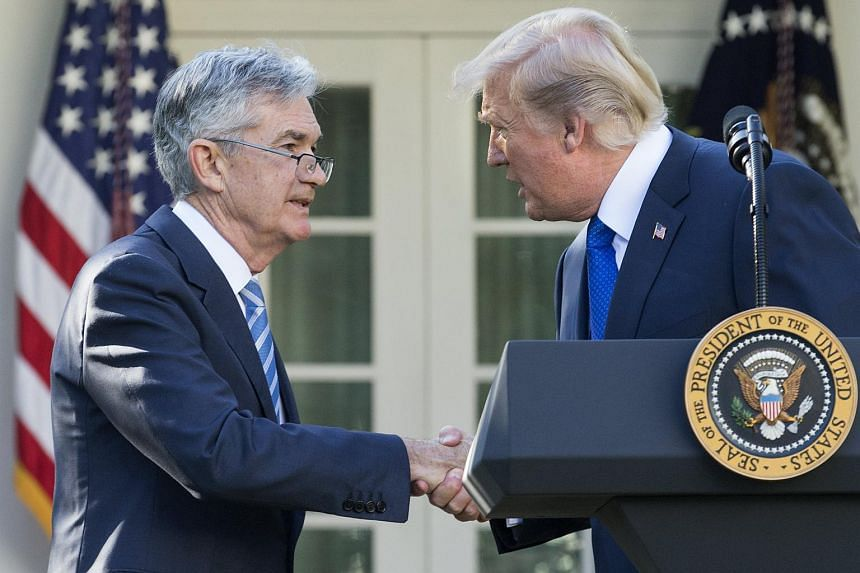 US President Donald J. Trump shakes hands with Jerome Powell after announcing him as his nominee for Chair of the Board of Governors of the Federal Reserve System.