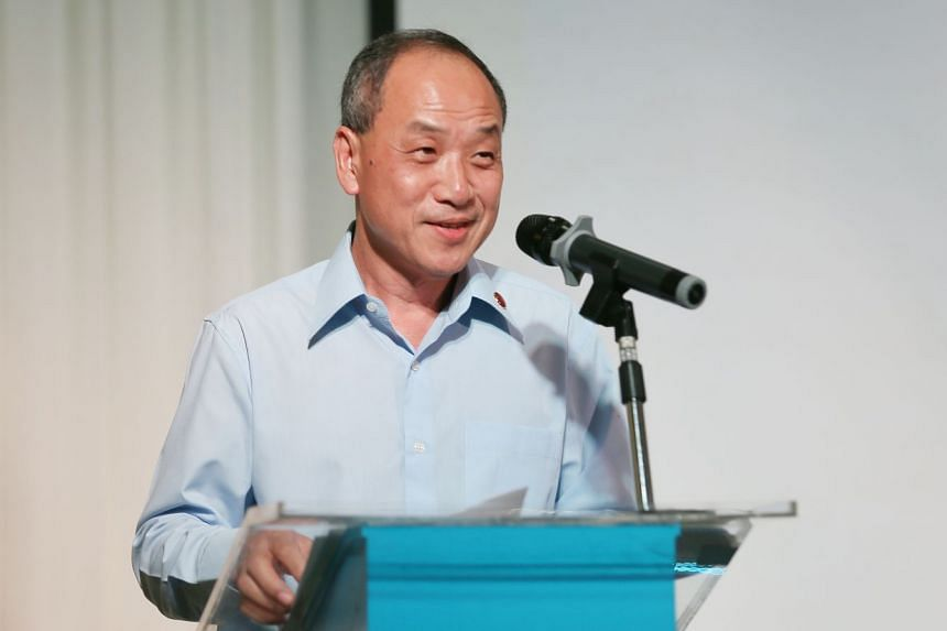 Workers' Party chief Low Thia Khiang speaking at the party's 60th anniversary dinner.
