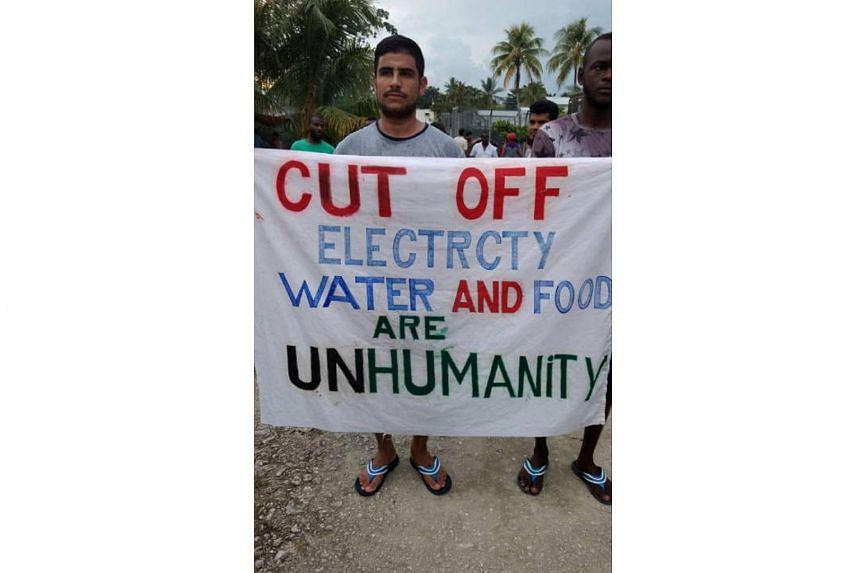 Asylum seekers protest on Manus Island, Papua New Guinea on Nov 3, 2017.