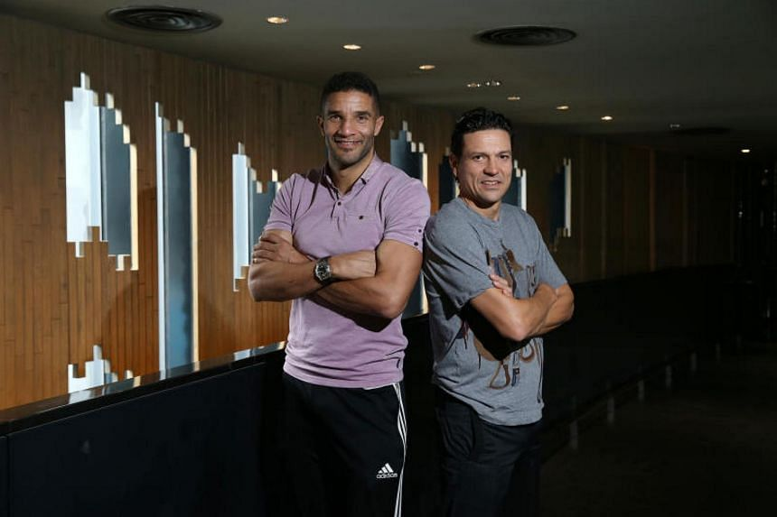 Former Liverpool players David James (left) and Jari Litnanen in Singapore for media interviews on Nov 3, 2017.