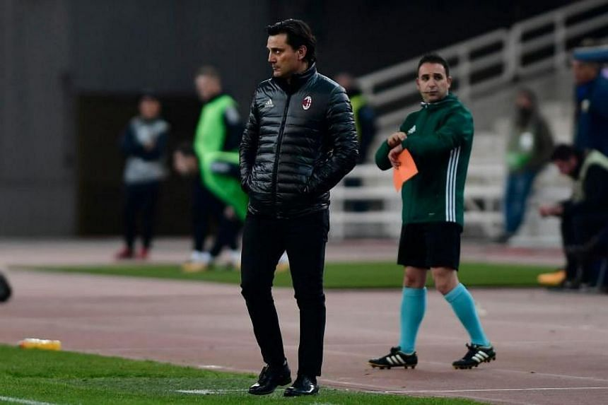 AC Milan's coach Vincenzo Montella looks on during the UEFA Europa League Group D football match between AEK Athens and AC Milan at the OAKA stadium in Athens on Nov 2, 2017.