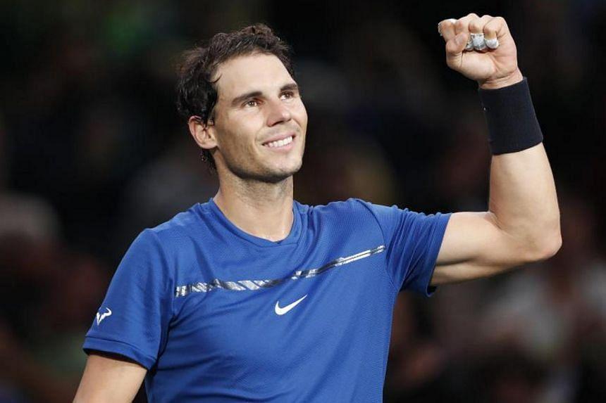 Rafael Nadal reacts during his round of 16 match against Uruguay's Pablo Cuevas at the Rolex Paris Masters tennis tournament in Paris, France on Nov 2, 2017.