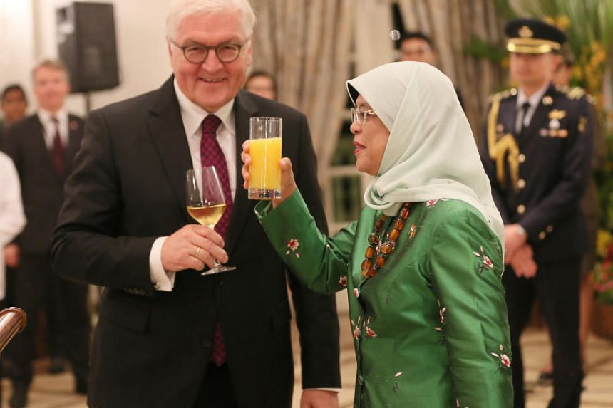 President Halimah Yacob hosts a state banquet at the Istana for German President Frank-Walter Steinmeier at Katana on Nov 2, 2017.