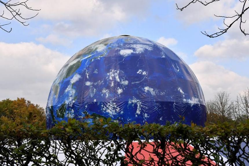 A huge globe at the site which will host the United Nations Climate Change Conference in Bonn, Germany, on Oct 2, 2017.
