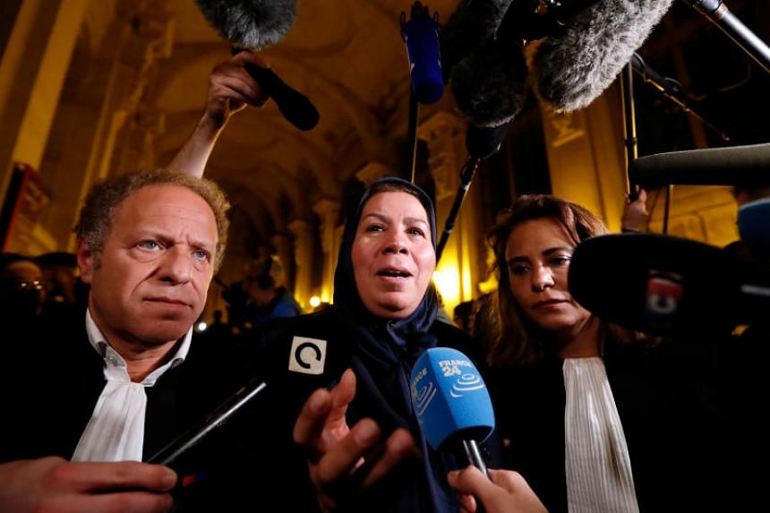Latifa Ibn Ziaten, mother of French soldier Imad ibn Ziaten who was slain by gunman Islamist militant Mohammed Merah, who killed 7 people in 2012, speaks after the verdict in the trial of Abdelkader Merah, brother of Mohammed Merah, on Nov 2, 2017.