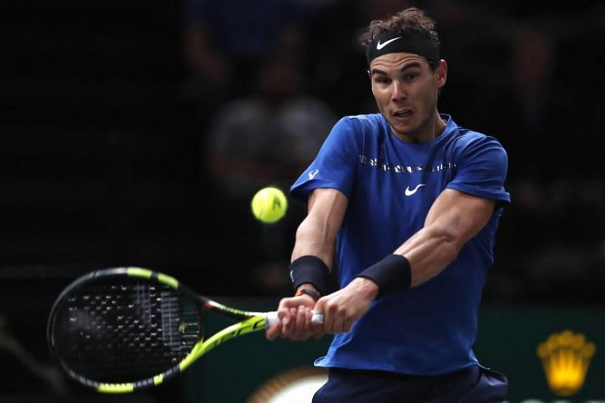 Rafael Nadal of Spain in action during his round of 16 match against Uruguay's Pablo Cuevas at the Rolex Paris Masters tennis tournament in Paris, France on Nov 2, 2017.