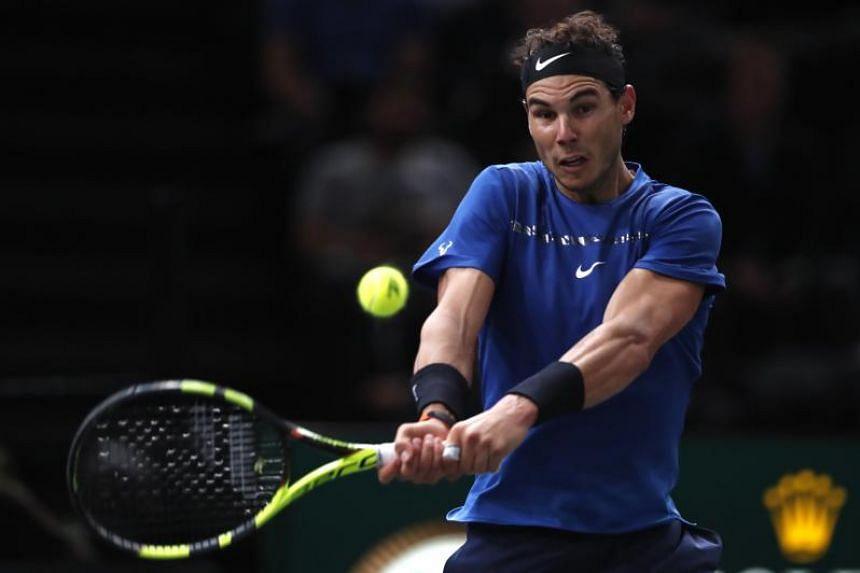 Rafael Nadal of Spain in action during his round of 16 match against Uruguay's Pablo Cuevas at the Rolex Paris Masters tennis tournament in Paris, France on Nov 2, 2017.