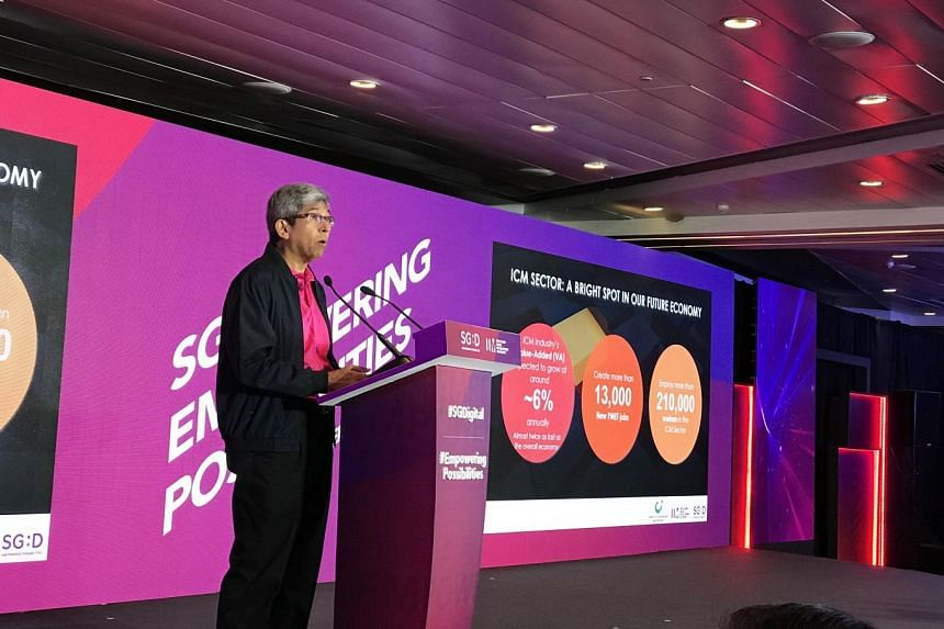Minister for Communications and Information Yaacob Ibrahim speaks during the launch of the ICM Industry Transformation Map.