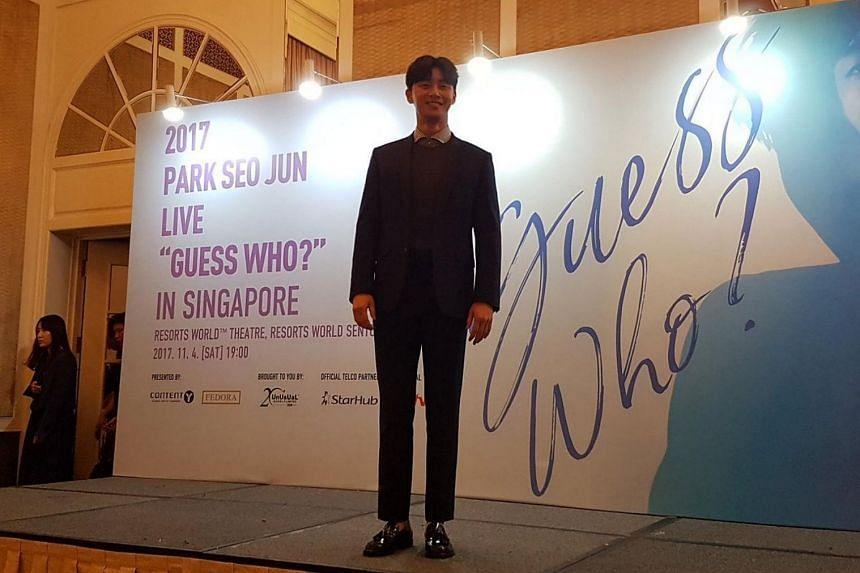 South Korean actor Park Seo Jun at a press conference held at the InterContinental Singapore on Nov 3, 2017.