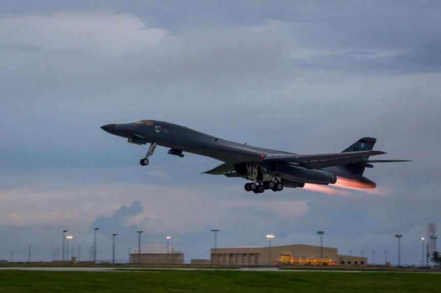 A file photo of the B-1B Lancer taking off to fly a bilateral mission with Japanese and South Korea Air Force jets, on Oct 10.