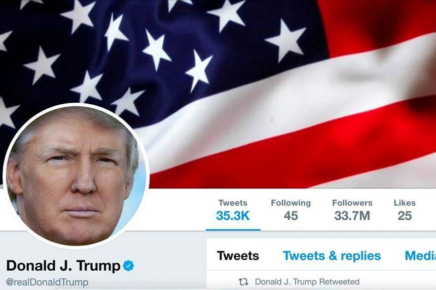 The masthead of US President Donald Trump's @realDonaldTrump Twitter account.