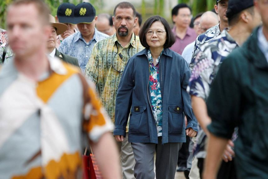 Taiwan's President Tsai Ing-wen leaving the USS Arizona Memorial after touring the park, at Pearl Harbor near Honolulu, Hawaii, on Oct 28, 2017.