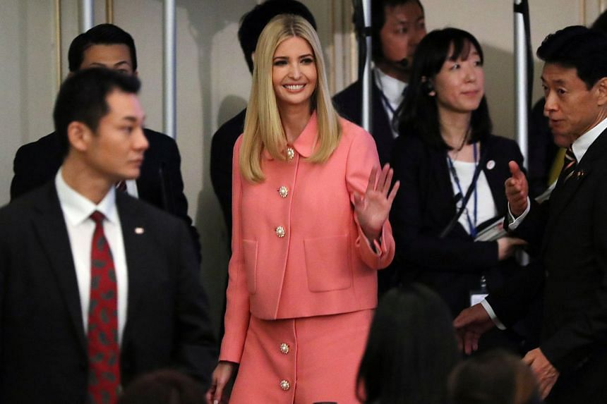 Ivanka Trump, the daughter and assistant to President Donald Trump, waves at the media after delivering a speech at World Assembly for Women: WAW! 2017 conference.