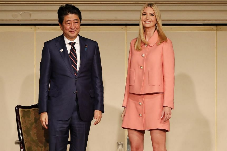 Ivanka Trump and Japan's Prime Minister Shinzo Abe at the World Assembly for Women (WAW!) conference.