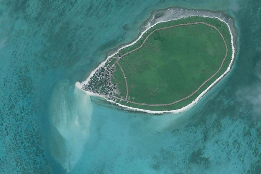An overview satellite image of Tree Island in the disputed Paracels island chain in the South China Sea.