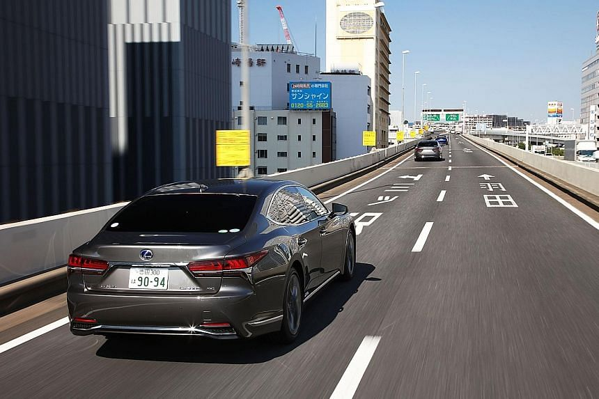 When activated, the Lane Change Assist function in the Lexus LS500h (above) makes lane-changing a hands-free affair.