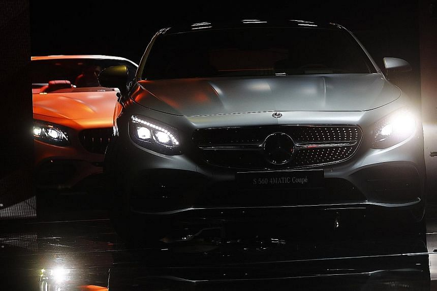 Mercedes-Benz S-class models (left) at the Frankfurt Motor Show in September. Sales of the range plunged 49 per cent last month.