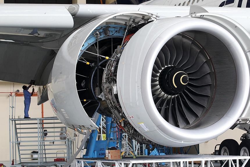 An Airbus A380 at the SIA Engineering Hangar. The company said it continues to invest in new technologies and is building up capabilities for new-generation aircraft and engines.