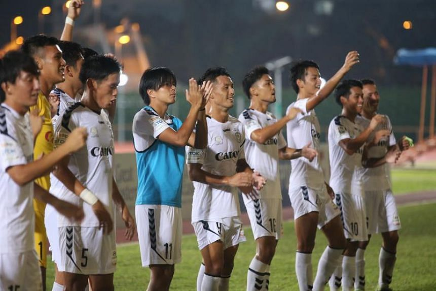 Albirex Niigata players celebrating their 3-0 away win against Balestier Khalsa at Toa Payoh stadium on Oct 26, 2017.