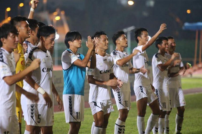 Albirex Niigata players celebrating their 3-0 away win against Balestier Khalsa at Toa Payoh stadium on Oct 26, 2017.