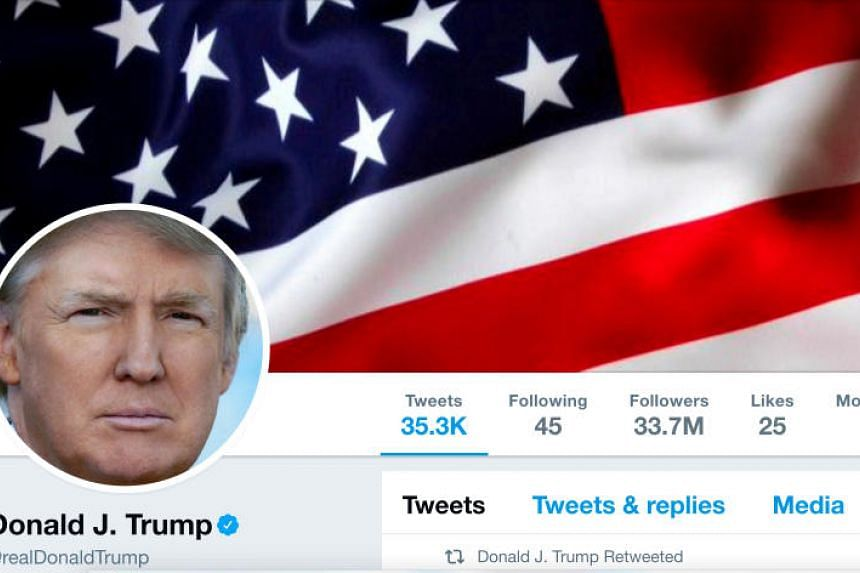 The masthead of US President Donald Trump's @realDonaldTrump Twitter account is seen on July 11, 2017.