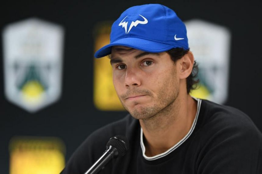 Spain's Rafael Nadal addresses a press conference ahead of the quarter-final round at the ATP World Tour Masters 1000 indoor tennis tournament on Nov 3, 2017 in Paris.