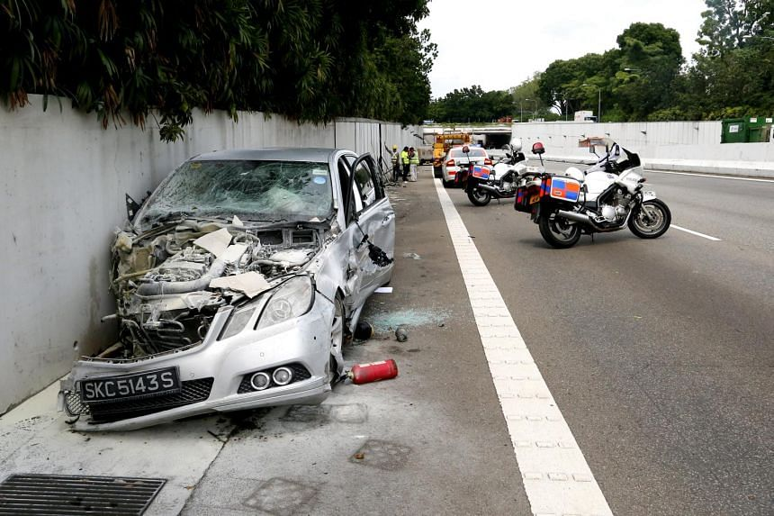 A Mercedes-Benz car driven by Lim Chai Heng caused a multi-vehicle collision involving four cars, a motorcycle and a bus.