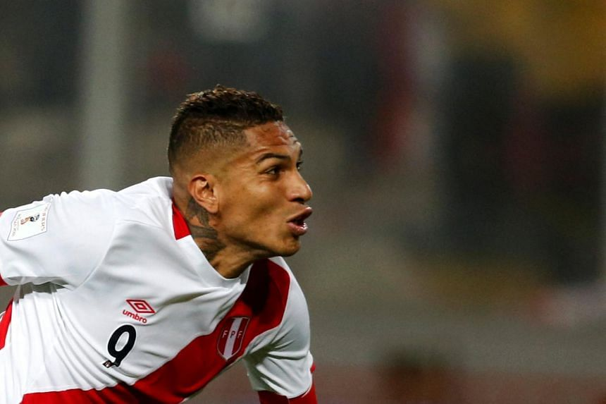 Peru's Paolo Guerrero at the 2018 World Cup Qualifiers between Peru and Colombia at the Nacional Stadium in Lima, Peru, on Oct 10, 2017.