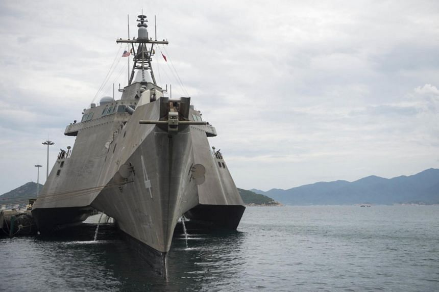 A file photo of the littoral combat ship USS Coronado (LCS 4) moored at Cam Ranh Bay International Port as part of Naval Engagement Activity (NEA) Vietnam 2017.