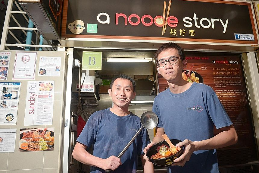 Co-owners of A Noodle Story Gwern Khoo (left) and Ben Tham. The stall, which sells Singapore-style ramen, has been on the Bib Gourmand list of Singapore's Michelin Guide since last year.
