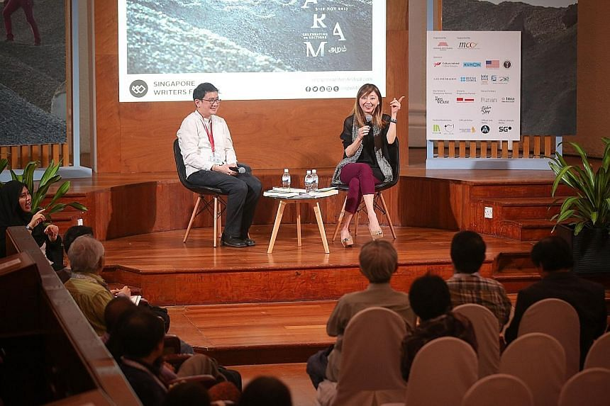 ST executive editor Sumiko Tan talking to readers yesterday at a session moderated by author Phan Ming Yen.