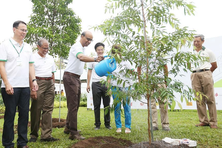 Deputy Prime Minister Tharman Shanmugaratnam planted a kayu arang tree, native to Singapore, at yesterday's Clean and Green Singapore carnival. With him were (from left) Mayor Teo Ho Pin, Environment and Water Resources Minister Masagos Zulkifli and