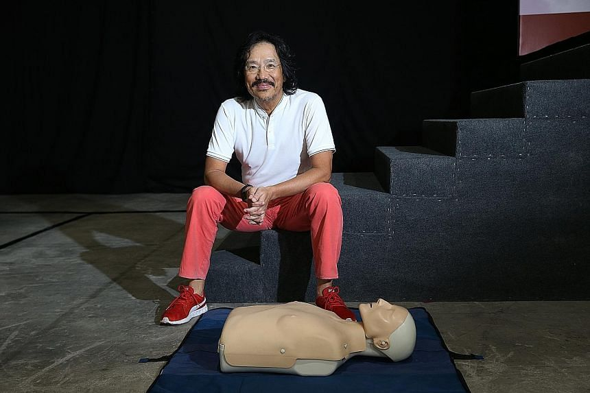 Mr Yeo Guan Kai, who had a cardiac arrest two years ago, participated in a three-hour mass CPR and AED course yesterday.