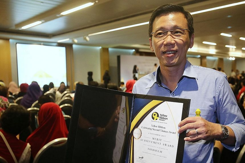 Mr Tan Han Lay was among the volunteers and former offenders who were recognised at the Yellow Ribbon Celebrating Second Chances Awards Ceremony yesterday.
