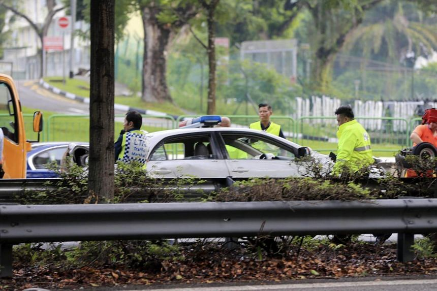 The police car was caught up in a multi-vehicle accident along the PIE towards Changi.