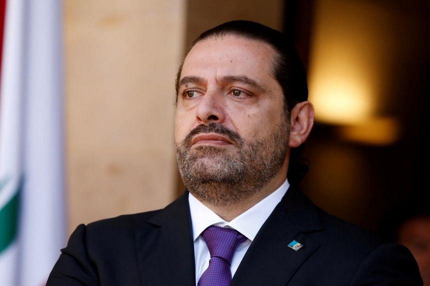 Lebanon's Prime Minister Saad al-Hariri at the governmental palace in Beirut, Lebanon.