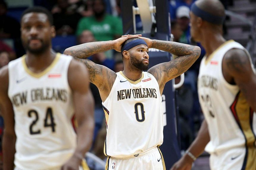 DeMarcus Cousins (#0) of the New Orleans Pelicans reacts during the game against the Orlando Magic at the Smoothie King Center in New Orleans.