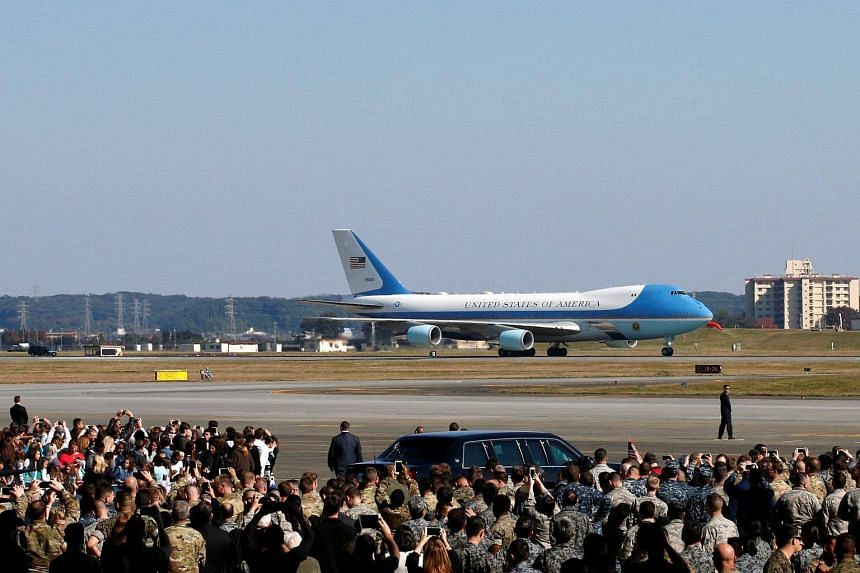 Air Force One carrying US President Donald Trump arrives at US Air Force Yokota Air Base in Fussa, Japan.