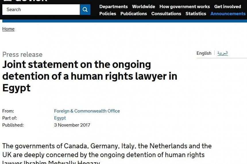 """""""We are concerned at the detention conditions that Ibrahim Metwaly Hegazy is reportedly enduring, and continue to call for transparency on prison conditions in Egypt,"""" a joint statement published on the British government website said late on Friday"""