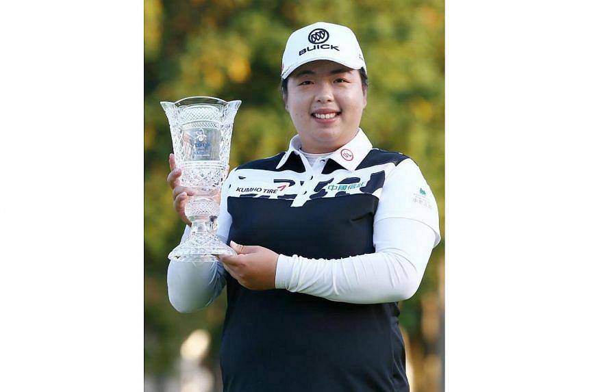 Shanshan Feng of China after winning the LPGA Japan Classic golf tournament in Omitama, Ibaraki prefecture, on Nov 5, 2017.