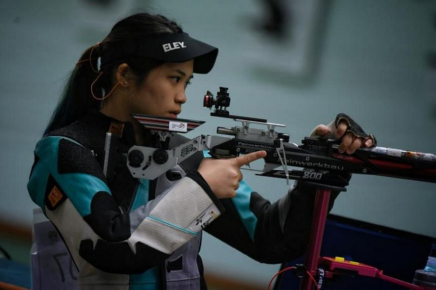 Singapore shooter Martina Veloso took a bronze medal in the women's 50m rifle three positions at the CSF and OSF Championships in Gold Coast on Nov 5, 2017.