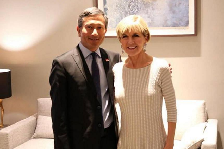 Minister for Foreign Affairs Vivian Balakrishnan and Australian Minister for Foreign Affairs Julie Bishop at the Asia-Pacific Regional Conference on Nov 5, 2017.