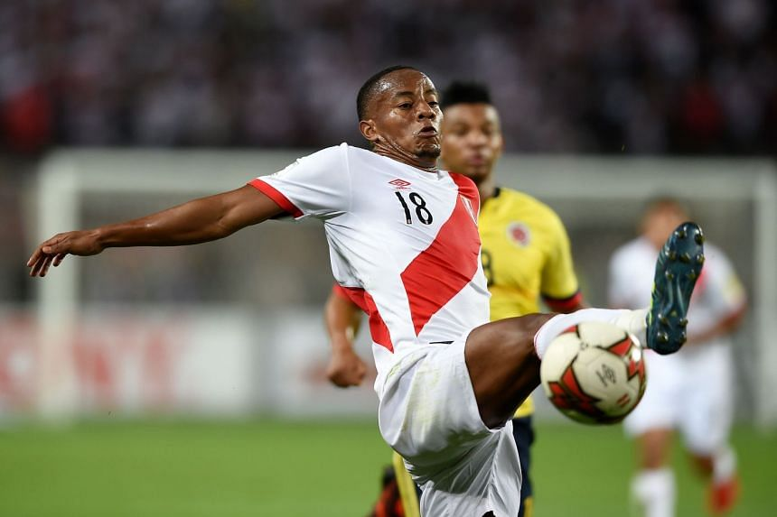 Peru's Yordy Reyna during the 2018 World Cup football qualifier match against Colombia in Lima, on Oct 10, 2017.
