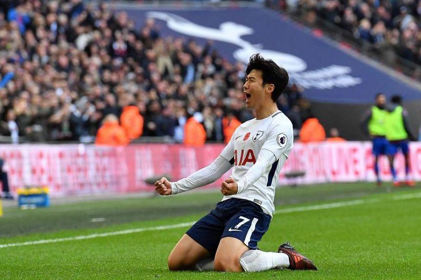 Tottenham forward Son Heung Min celebrating his winner against Crystal Palace at Wembley.