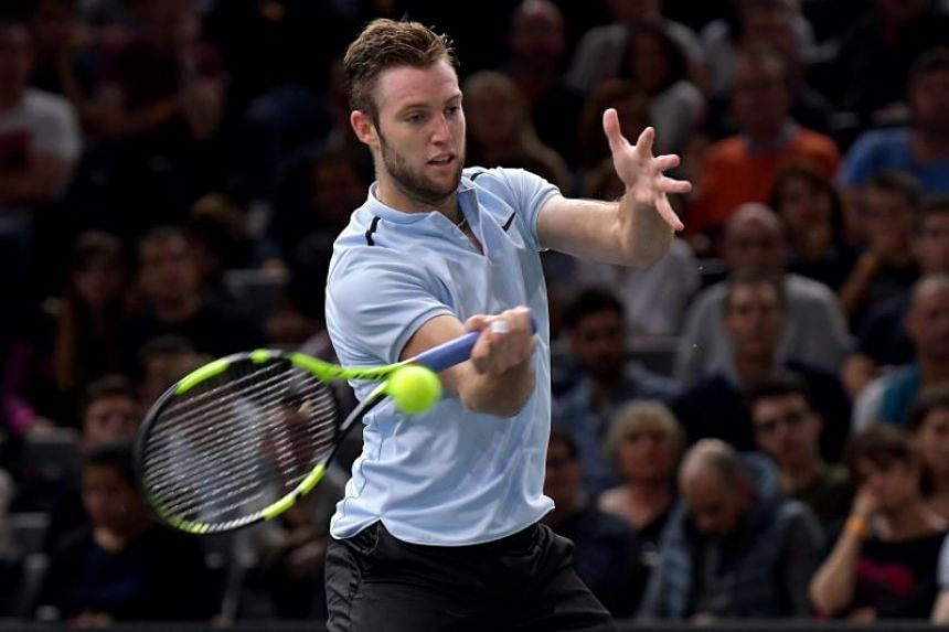 Jack Sock in action against Julien Benneteau during the semi final match against during at the Rolex Paris Masters tennis tournament in Paris, France on Nov 4, 2017.