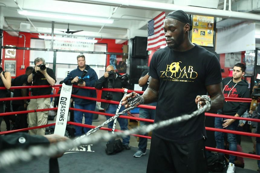 World Boxing Council Heavyweight Champion Deontay Wilder during a workout at Gleason's Gym in the Brooklyn Borough of New York City on Nov 1, 2017.